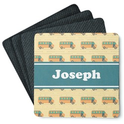 School Bus 4 Square Coasters - Rubber Backed (Personalized)