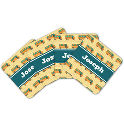 School Bus Cork Coaster - Set of 4 w/ Name or Text