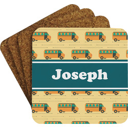 School Bus Coaster Set w/ Stand (Personalized)
