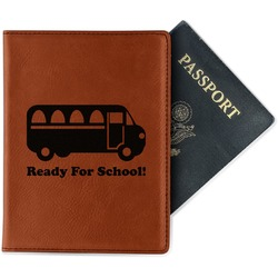 School Bus Leatherette Passport Holder (Personalized)