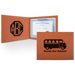 School Bus Leatherette Certificate Holder (Personalized)