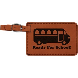 School Bus Leatherette Luggage Tag (Personalized)