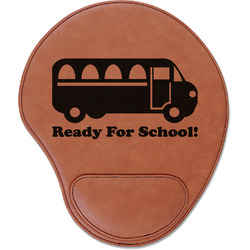 School Bus Leatherette Mouse Pad with Wrist Support (Personalized)