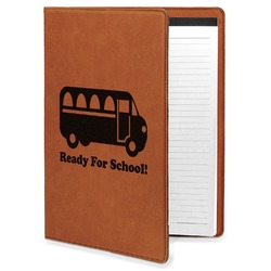 School Bus Leatherette Portfolio with Notepad (Personalized)