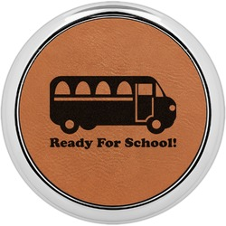 School Bus Leatherette Round Coaster w/ Silver Edge - Single or Set (Personalized)