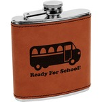 School Bus Leatherette Wrapped Stainless Steel Flask (Personalized)