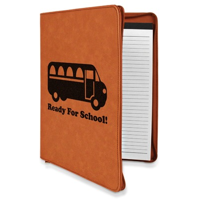 School Bus Leatherette Zipper Portfolio with Notepad (Personalized)