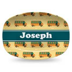 School Bus Plastic Platter - Microwave & Oven Safe Composite Polymer (Personalized)