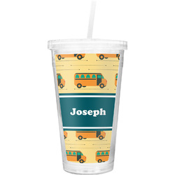 School Bus Double Wall Tumbler with Straw (Personalized)