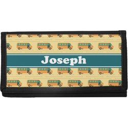 School Bus Canvas Checkbook Cover (Personalized)