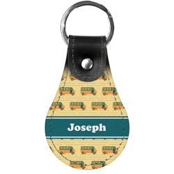School Bus Genuine Leather  Keychain (Personalized)