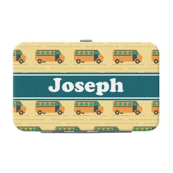 School Bus Genuine Leather Small Framed Wallet (Personalized)