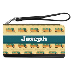 School Bus Genuine Leather Smartphone Wrist Wallet (Personalized)