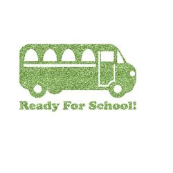 School Bus Glitter Iron On Transfer- Custom Sized (Personalized)