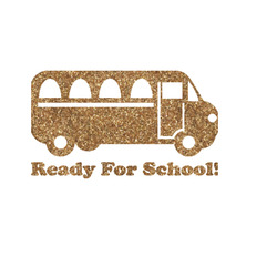 School Bus Glitter Iron On Transfer- Custom Sized (Personalized)