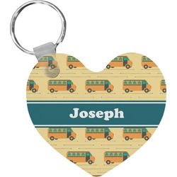 School Bus Heart Keychain (Personalized)