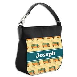 School Bus Hobo Purse w/ Genuine Leather Trim (Personalized)