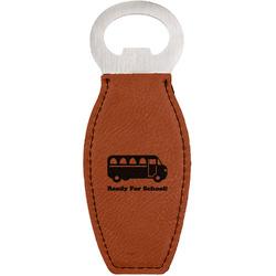 School Bus Leatherette Bottle Opener (Personalized)