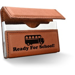 School Bus Leatherette Business Card Case (Personalized)