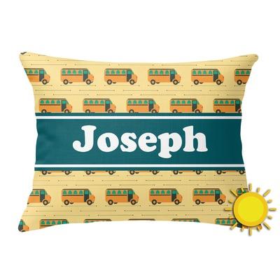 School Bus Outdoor Throw Pillow (Rectangular) (Personalized)