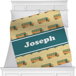 "School Bus Fleece Blanket - Twin / Full - 80""x60"" - Single Sided (Personalized)"