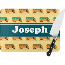 School Bus Rectangular Glass Cutting Board (Personalized)