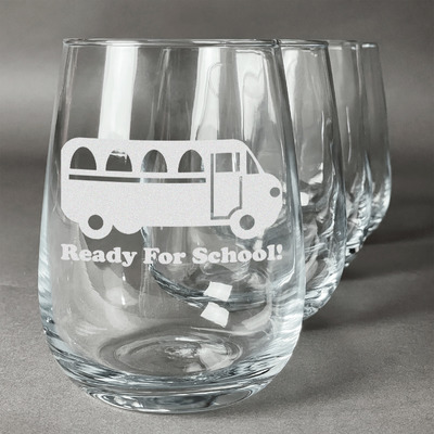School Bus Stemless Wine Glasses (Set of 4) (Personalized)
