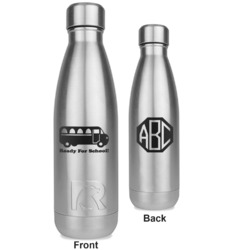 School Bus RTIC Bottle - Silver - Engraved Front & Back (Personalized)