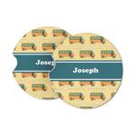 School Bus Sandstone Car Coasters (Personalized)