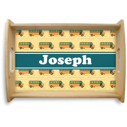 School Bus Natural Wooden Tray - Small (Personalized)