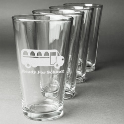 School Bus Beer Glasses (Set of 4) (Personalized)