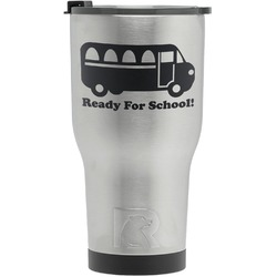 School Bus RTIC Tumbler - Silver - Engraved Front (Personalized)