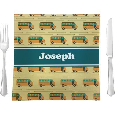 """School Bus 9.5"""" Glass Square Lunch / Dinner Plate- Single or Set of 4 (Personalized)"""