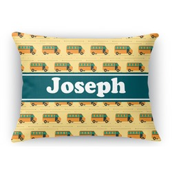 School Bus Rectangular Throw Pillow Case (Personalized)