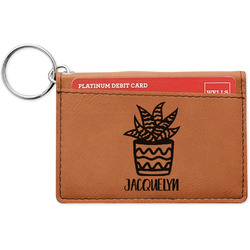 Cactus Leatherette Keychain ID Holder (Personalized)
