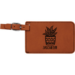 Cactus Leatherette Luggage Tag (Personalized)