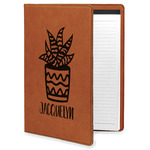 Cactus Leatherette Portfolio with Notepad (Personalized)