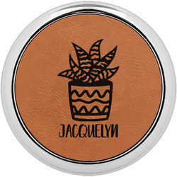 Cactus Leatherette Round Coaster w/ Silver Edge - Single or Set (Personalized)