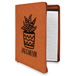 Cactus Leatherette Zipper Portfolio with Notepad (Personalized)