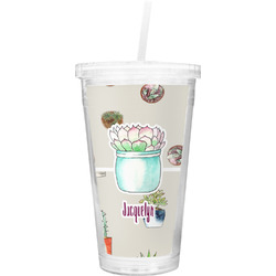 Cactus Double Wall Tumbler with Straw (Personalized)
