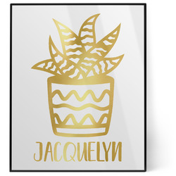 Cactus 8x10 Foil Wall Art - White (Personalized)