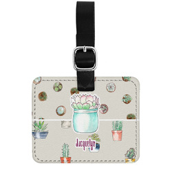 Cactus Genuine Leather Rectangular  Luggage Tag (Personalized)