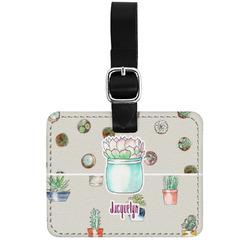 Cactus Genuine Leather Rectangular  Luggage Tag (Personalized)