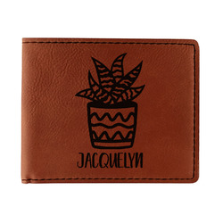 Cactus Leatherette Bifold Wallet - Single Sided (Personalized)