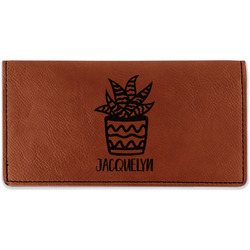 Cactus Leatherette Checkbook Holder - Double Sided (Personalized)