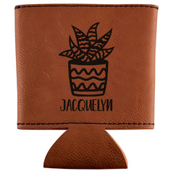 Cactus Leatherette Can Sleeve (Personalized)