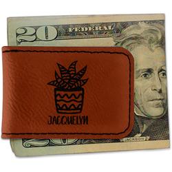 Cactus Leatherette Magnetic Money Clip (Personalized)