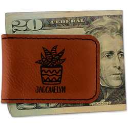 Cactus Leatherette Magnetic Money Clip - Single Sided (Personalized)