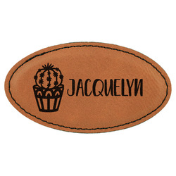 Cactus Leatherette Oval Name Badge with Magnet (Personalized)