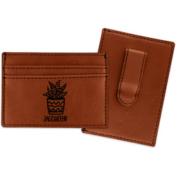 Cactus Leatherette Wallet with Money Clip (Personalized)
